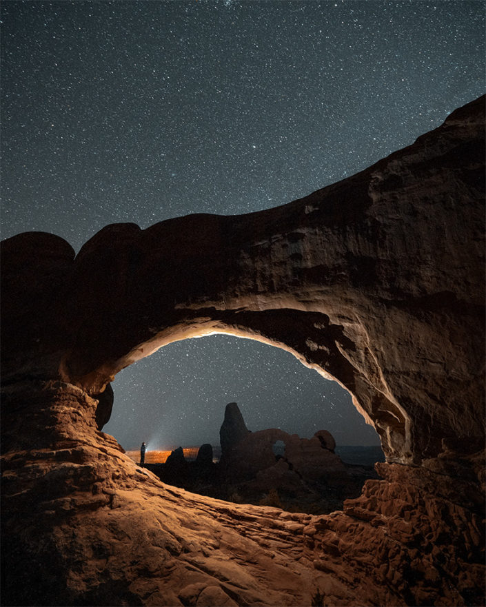 Windows Section Arches Night Sky