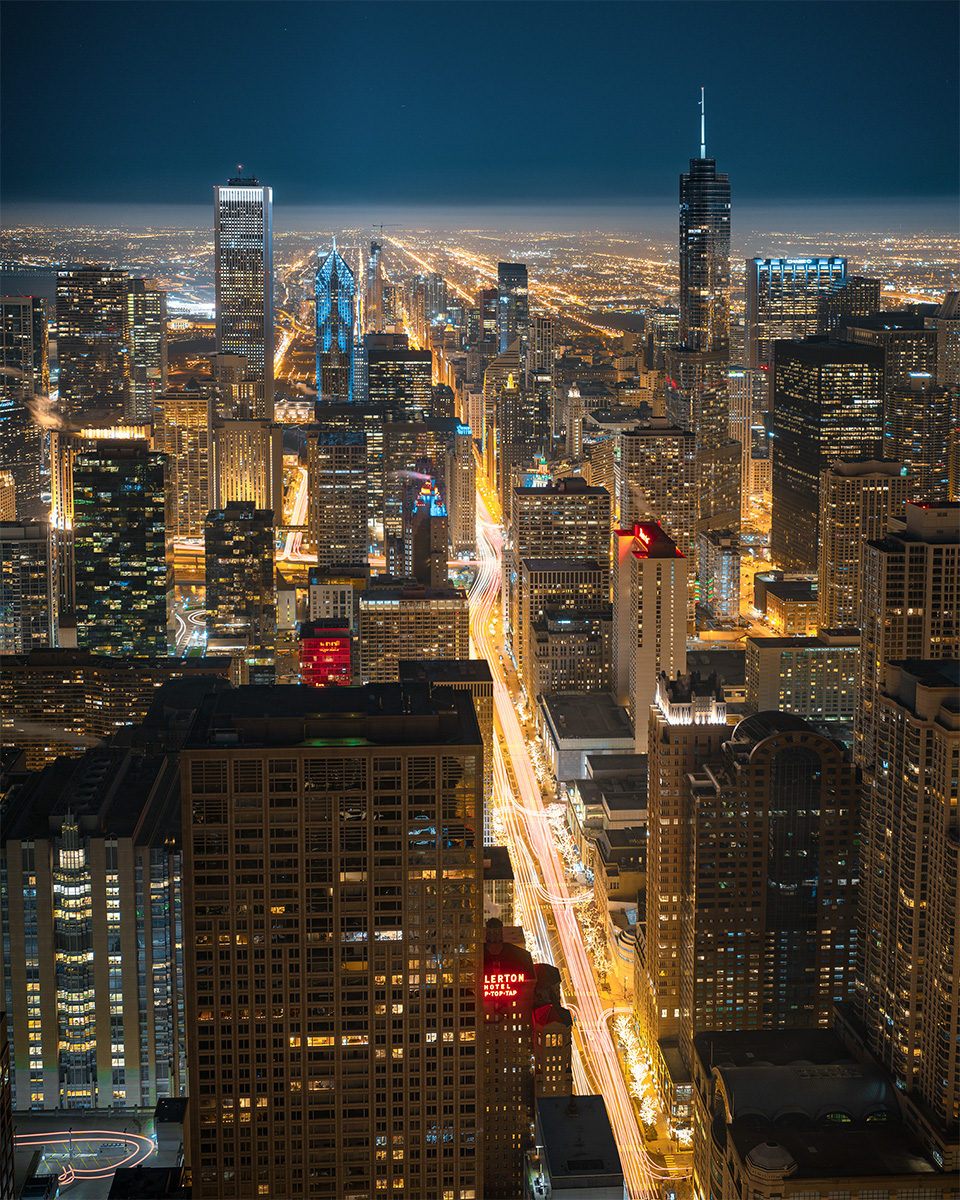 Downtown Chicago from skydeck at night