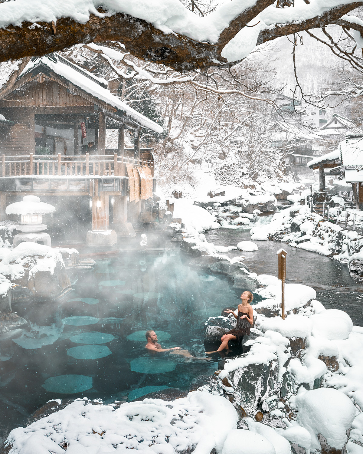 Takaragawa Onsen in Japan in winter