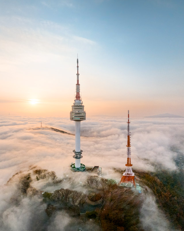 Seoul Tower sunrise drone